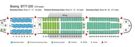 AIR CHINA AIRLINES BOEING 777-200 AIRCRAFT SEATING CHART