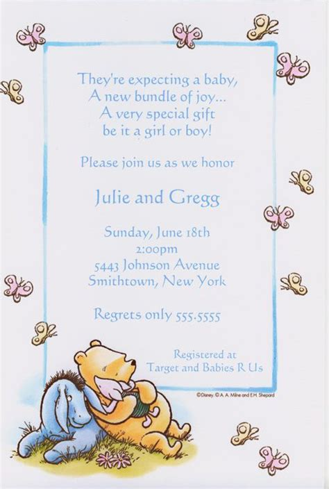 Classic Pooh & Friends Butterfly Baby Shower INVITATION