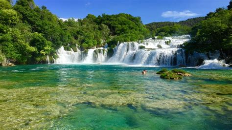 Plitvice Lakes Stepped Waterfalls On The River Krka
